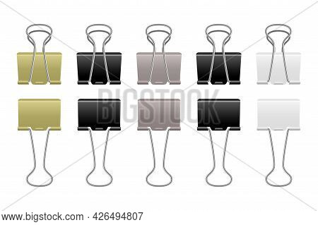 Paper Clips Metallic. Realistic Steel Binder. Office Supplies. Stationery For Documents Binding. Iso