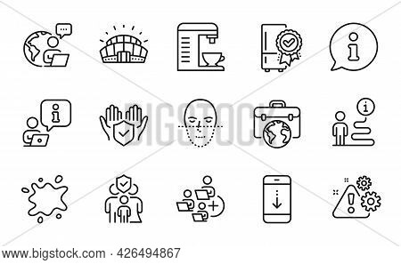 Business Icons Set. Included Icon As Certified Refrigerator, Warning, Family Insurance Signs. Add Te