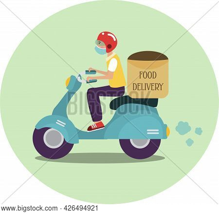 A Guy On A Scooter In A Protective Mask Delivers Food