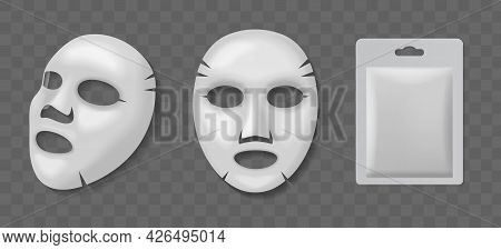 Cosmetic Face Mask. Realistic Cotton Facial Skin Care Masks Front And Side View, Blank Packaging Moc