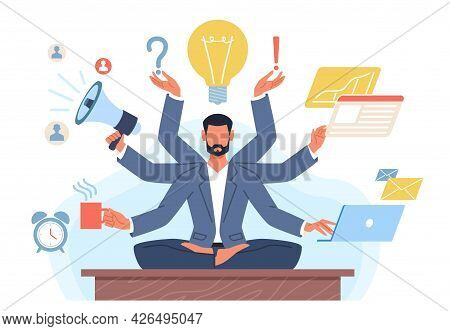 Multitasking Man. Businessman With Many Hands In Lotus Position Solves Tasks At Same Time. Manager Y