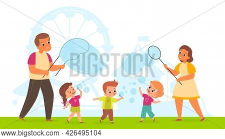 Bubbles Show. Cute Happy Children And Adults Blowing Soap Bubbles In Park. Cartoon Kids And Parents