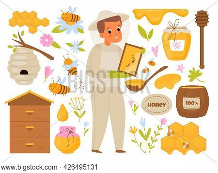 Apiary Honey. Cartoon Beekeeper. Man Takes Care Of Bees Producing Organic Sweets In Hive. Barrel And