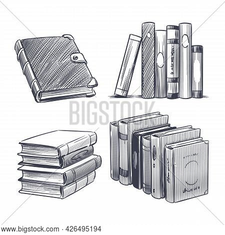Book Hand Drawn. Monochrome Notebooks Sketch. Library And Bookstore Drawing Elements. Engraving Stac