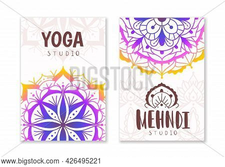 Yoga Studio Cards. Indian Practices Banner With Oriental Mandala Patterns. Decorative Ethnic Fractal