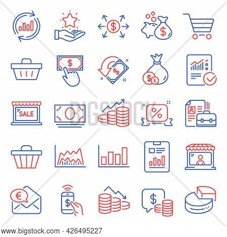Finance Icons Set. Included Icon As Discounts Ribbon, Sale, Phone Payment Signs. Coins, Cash Money,