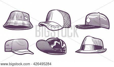 Fashion Hats Sketch. Headdress Design For Men. Baseball Caps With Visors And Textile Panama. Seasona