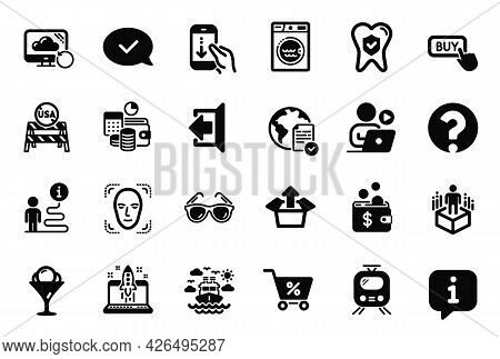 Vector Set Of Business Icons Related To Dental Insurance, Train And Scroll Down Icons. Usa Close Bor