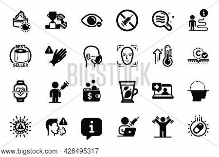 Vector Set Of Healthcare Icons Related To Collagen Skin, Cardio Training And High Thermometer Icons.