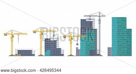 House Emergence. Building Stages. Unfinished Real Estate And Crane. Housing Development From Frame C