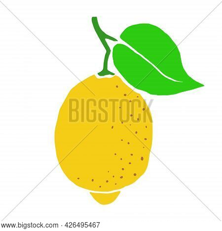 Lemon On A Branch With A Green Leaf. Yellow Summer Citrus. Hand Drawn Cartoon Tropical Juicy Fruit.