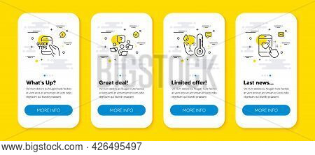 Vector Set Of Teamwork Question, Fever And Education Line Icons Set. Ui Phone App Screens With Line