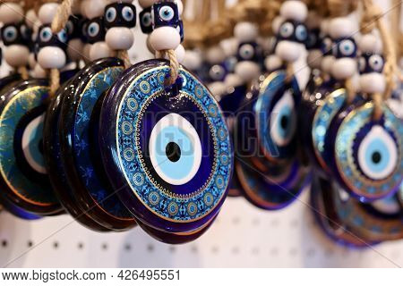 Nazar Amulets In A Turkish Shop. Fatima Eye, Protection Against The Evil Eye Symbol, Traditional Tur