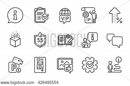 Technology Icons Set. Included Icon As Speech Bubble, Increasing Percent, Vip Internet Signs. Survey