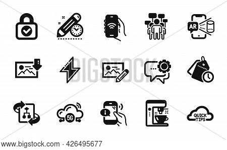 Vector Set Of Technical Algorithm, Project Deadline And Internet App Icons Simple Set. Security Lock