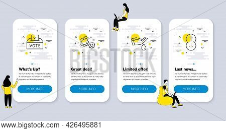 Set Of Business Icons, Such As Vote Box, Gears, Wash Hands Icons. Ui Phone App Screens With People.