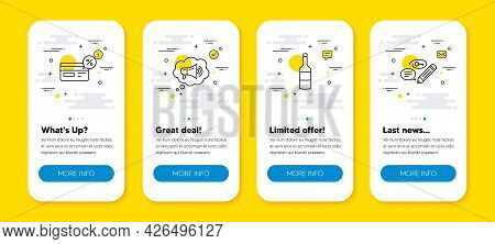Vector Set Of Megaphone, Wine And Cashback Line Icons Set. Ui Phone App Screens With Line Icons. Key