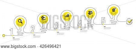 Lightbulb Journey Path Infographics. Business Infographic Timeline With 5 Steps. Workflow Process Di