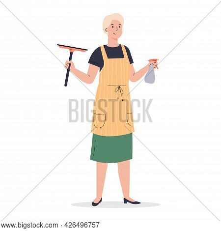 A Woman Dressed In An Apron With Wiper. Housekeeping Activity. Woman With Window Cleaners. Flat Vect