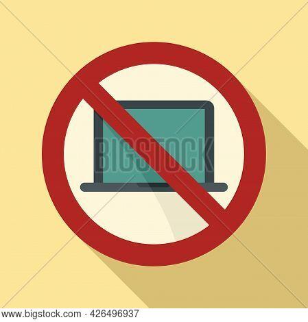 Laptop Digital Detoxing Icon Flat Vector. Computer Use Screen. Internet Off Detox
