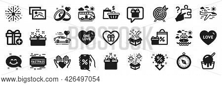 Set Of Holidays Icons, Such As Special Offer, Photo Album, Fireworks Explosion Icons. Wish List, Pre