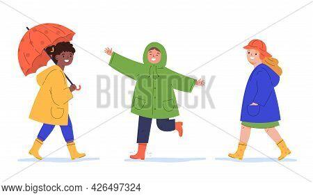 Children In Raincoats And With Umbrella In The Rain. Kids Walk In The Rain. Flat Vector Cartoon Illu