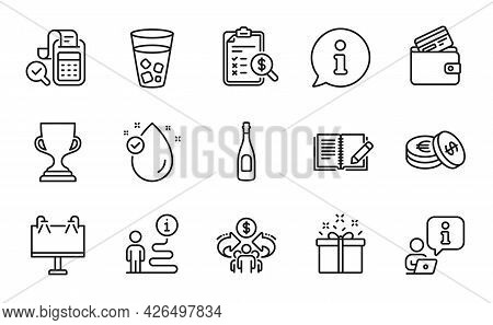 Line Icons Set. Included Icon As Vitamin E, Special Offer, Sharing Economy Signs. Award Cup, Road Ba