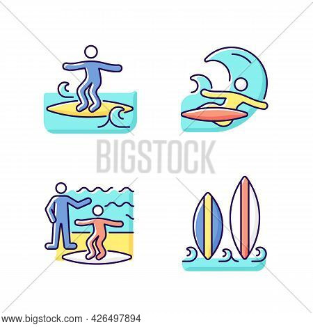 Surfboarding Rgb Color Icons Set. Crumbly Waves Surfing. Flight Maneuver. Taking Surf Classes. Isola