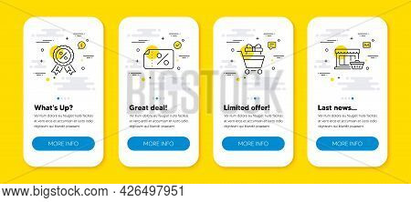 Vector Set Of Discount Medal, Shopping Trolley And Discount Banner Line Icons Set. Ui Phone App Scre
