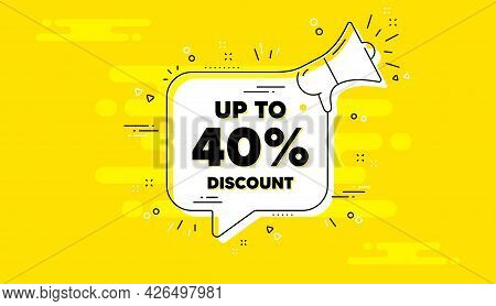 Up To 40 Percent Discount. Alert Megaphone Yellow Chat Banner. Sale Offer Price Sign. Special Offer