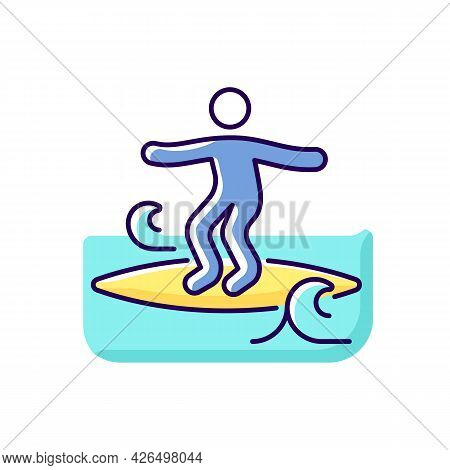 Crumbly Waves Surfing Rgb Color Icon. Isolated Vector Illustration. Learning Surfing Tricks On Mushy