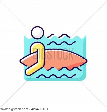 Surfer Entering Water Rgb Color Icon. Isolated Vector Illustration. Surfing For First Time. Holding
