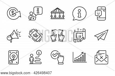 Technology Icons Set. Included Icon As Paper Plane, Smile, Hdd Signs. Call Center, Reject Letter, Gr