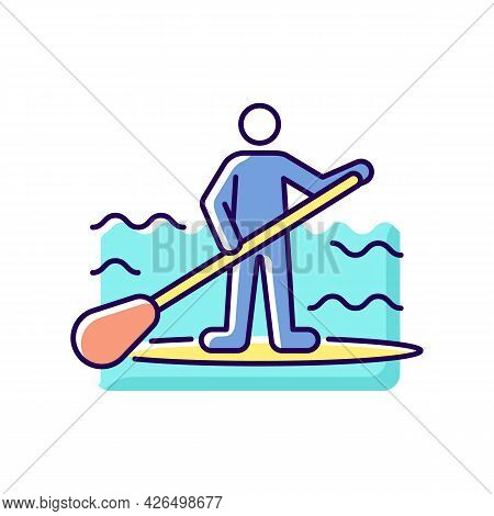 Paddle Board Surfing Rgb Color Icon. Isolated Vector Illustration. Sup Surfing. Upper Body Training.