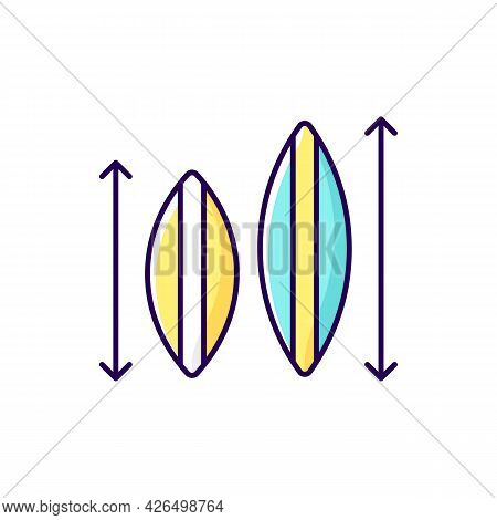 Choosing Surfboard Size Rgb Color Icon. Isolated Vector Illustration. Depending On Surfer Weight And