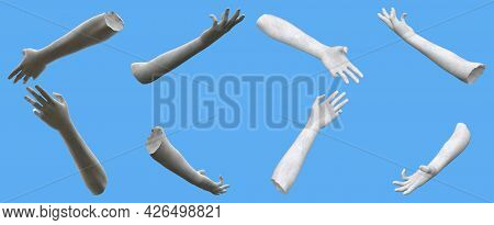 8 Grey Stone Statue Hand Renders Isolated On Blue, Lights And Shadows Distribution Example For Artis