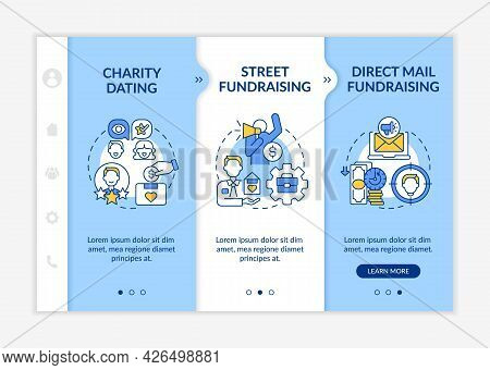Fundraiser Appeal For Funds Onboarding Vector Template. Responsive Mobile Website With Icons. Web Pa