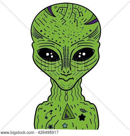 Alien Green Portrait Humanoid Vector Clip Art Illustration