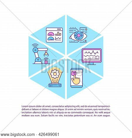 Digital Twin Concept Line Icons With Text. Ppt Page Vector Template With Copy Space. Brochure, Magaz