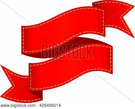Flat Isolated Red Ribbons, Tags And Label.