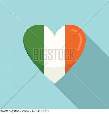 Ireland Heart Icon Flat Vector. Irish Flag. Travel Ireland Sticker