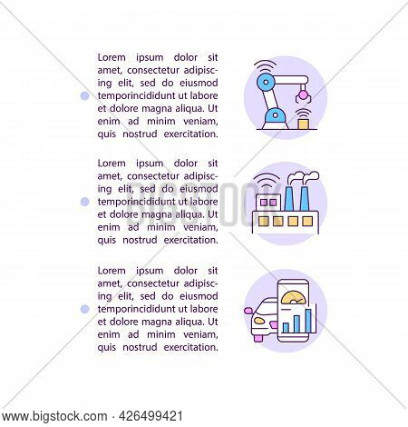 Boosting Manufacturing Concept Line Icons With Text. Ppt Page Vector Template With Copy Space. Broch