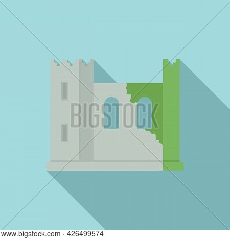 Ireland Fortress Icon Flat Vector. Dublin Castle. Medieval Tower Landscape