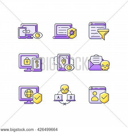 Internet Surveillance Purple Rgb Color Icons Set. Cross-device Tracking. Antivirus Software. Isolate