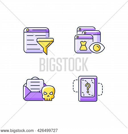 Network Surveillance Purple Rgb Color Icons Set. Filter Bubble. Online Behavioral Tracking. Email Ph