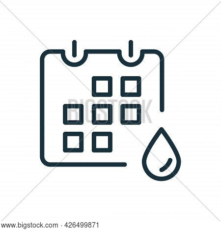 Menstruation Calendar Linear Icon. Concept Menstrual Cycle With Calendar And Blood Drop. Menses And