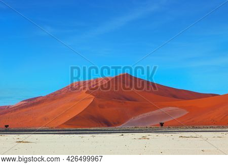 Grand trip to Africa, Namib Naukluft desert. Dead lake Sussussflay. Huge orange dunes. Grandiose paintings of sand dunes. The concept of active, exotic, extreme and photo tourism