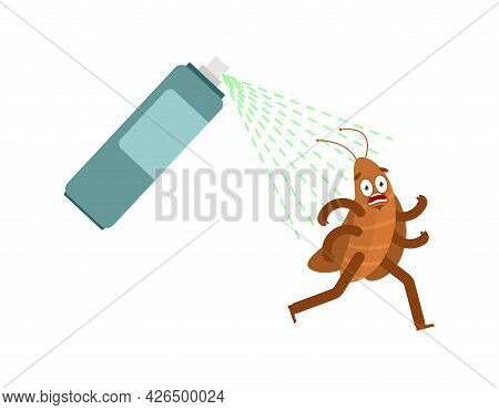 Cockroach Running Away From Spray Isolated. House Beetle Run. Vector Illustration