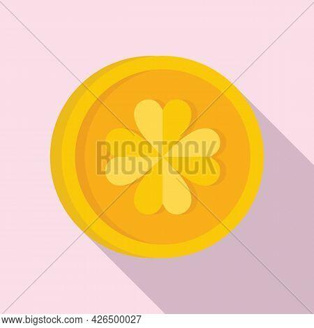Gold Clover Coin Icon Flat Vector. Irish Golden Coin. Luck Clover Medal