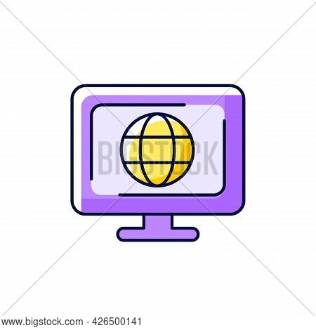 Cyberspace Purple Rgb Color Icon. Isolated Vector Illustration. Virtual Computer World. Internet Env